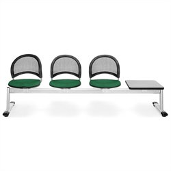 Beam Seating with 3 Seats and Table in Forest Green and Gray