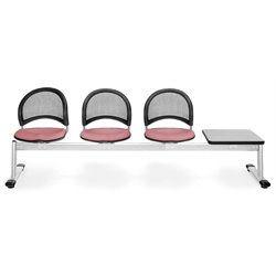 Beam Seating with 3 Seats and Table in Coral Pink and Gray