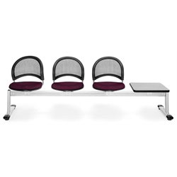Beam Seating with 3 Seats and Table in Burgundy and Gray