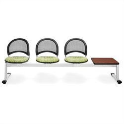 4 Beam Seating with 3 Seat and 1 Table in Greenthumb and Cherry