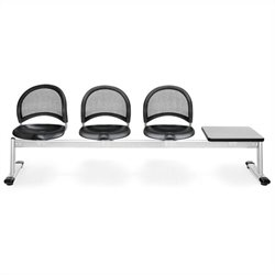 4 Beam Seating with 3 Plastic Seats and Table in Black and Gray