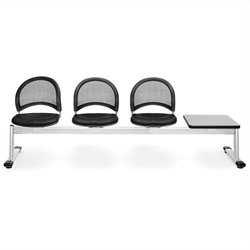4 Beam Seating with 3 Vinyl Seat and Table in Black and Gray