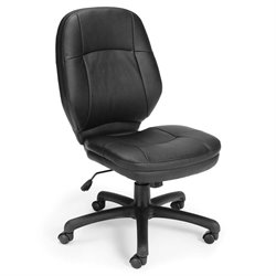 OFM Stimulus Ergonomic Leather Swivel Armless Office Chair in Black