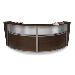 OFM Marque Plexi Double-Unit Reception Desk in Walnut