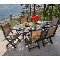 Polywood Coastal 7 Piece Wood Patio Dining Set in Black and Burlap