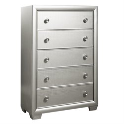 Samuel Lawrence Celestial 5 Drawer Chest in Silver