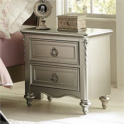Samuel Lawrence Sterling 2 Drawer Nightstand in Silver