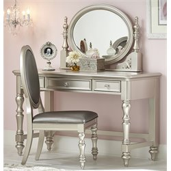 Samuel Lawrence Sterling 3 Drawer Bedroom Vanity in Silver