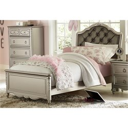 Samuel Lawrence Sterling Upholstered Twin Bed with Rails in Silver-R
