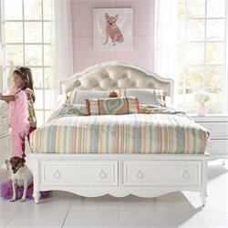 Samuel Lawrence Furniture SweetHeart Upholstered Bed in White