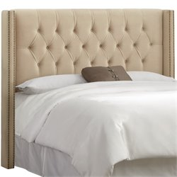 Skyline Diamond Tufted Wingback Headboard in Pearl-2