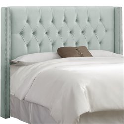 Skyline Diamond Tufted Wingback Headboard in Pool-3
