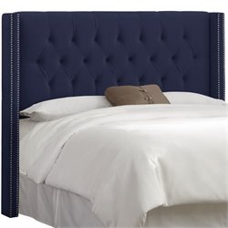 Skyline Diamond Tufted Wingback Headboard in Navy-4