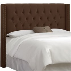 Skyline Diamond Tufted Wingback Headboard in Chocolate-6