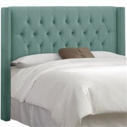 Skyline Diamond Tufted Wingback Headboard in Caribbean-7