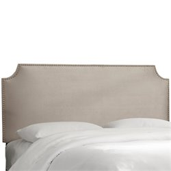Skyline Notched Nail Button Headboard in Platinum-29