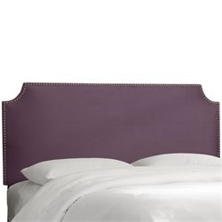 Skyline Notched Nail Button Headboard in Purple-35