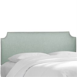 Skyline Notched Nail Button Headboard in Swedish Blue-44
