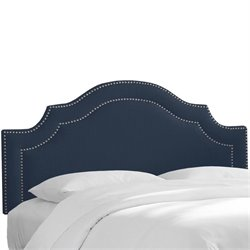 Skyline Nail Button Arched Headboard in Navy-63
