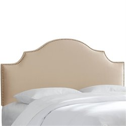 Skyline Nail Button Notched Headboard in Pearl-148