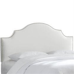 Skyline Nail Button Notched Headboard in White-149