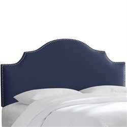 Skyline Nail Button Notched Headboard in Navy-150