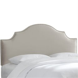 Skyline Nail Button Notched Headboard in Light Gray-151