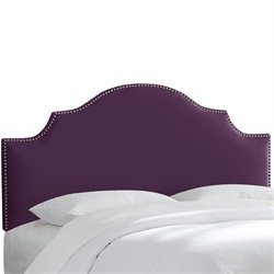Skyline Nail Button Notched Headboard in Aubergine-153