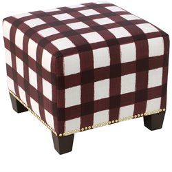 Skyline Furniture Ottoman in Buffalo Square Holiday Red