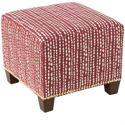 Skyline Furniture Ottoman in Line Dot Holiday Red