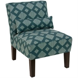 Skyline Furniture Upholstered Accent Chair in Line Lattice Teal
