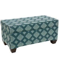 Skyline Furniture Storage Bench in Line Lattice Teal