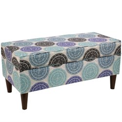 Skyline Furniture Storage Bench in Pen Medallion Blue