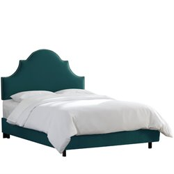 Skyline Furniture Upholstered Panel Bed in Mystere Peacock-SH