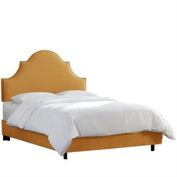 Skyline Furniture Upholstered Panel Bed in Mystere Velvet Amber-HI