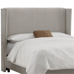 Skyline Furniture Wingback Tufted Headboard in Gray