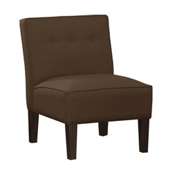 Skyline Furniture Upholstered Tufted Slipper Chair in Brown