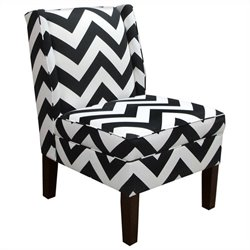 Skyline Furniture Cotton Slipper Wingback Chair in Black Geometric Pattern