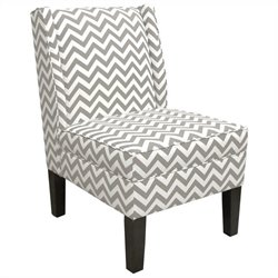 Skyline Furniture Cotton Slipper Wingback Chair in White Geometric Pattern