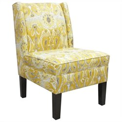 Skyline Furniture Cotton Wingback Slipper Chair in Yellow Floral Pattern