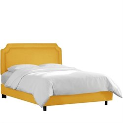 Skyline Notched Bed in Linen French Yellow