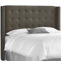 Skyline Tufted Wingback Panel Headboard in Gray
