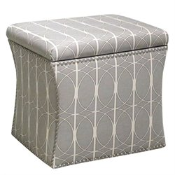 Skyline Nail Button Storage Ottoman in Menton Linen