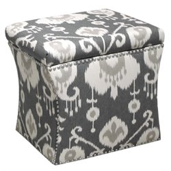 Skyline Nail Button Storage Ottoman in Java Pewter