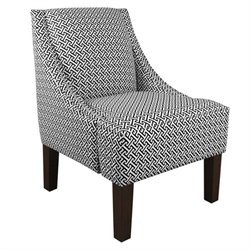Skyline Fabric Swoop Club Arm Chair in Cross Section Licorice