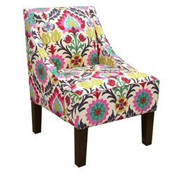 Skyline Upholstered Swoop Fabric Club Arm Chair in Santa Maria Desert Flower