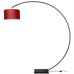 Dainolite Arc Aluminum Floor Lamp in Red and Black