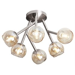 Dainolite Tanglewood 6 Light Semi Flush Mount in Satin Chrome