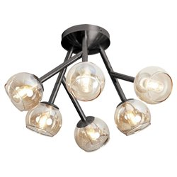Dainolite Tanglewood 6 Light Semi Flush Mount in Vintage Steel