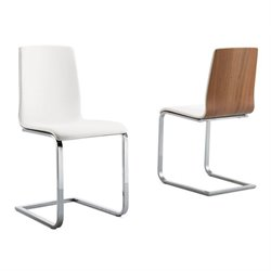 Domitalia Juliet-sl Dining Chair in White and Walnut Brown